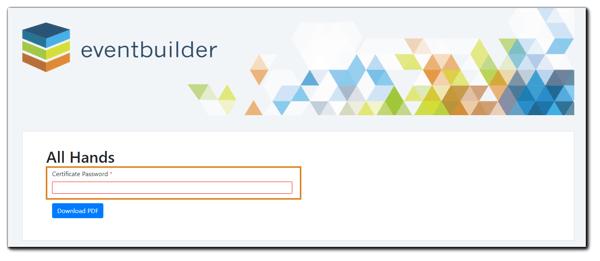 Screenshot: Certificate Password prompt.