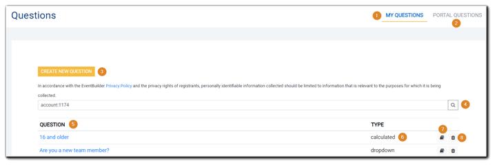 Screenshot: Main Questions page guide.