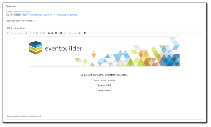 Screenshot: HTML editor for Event Certificate creation.