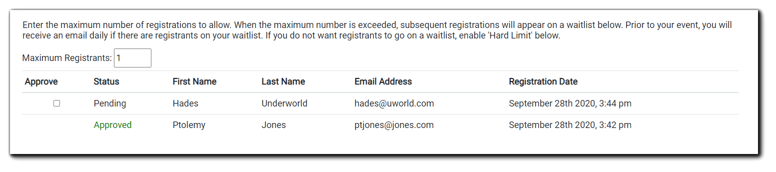 Screenshot: Controls for the Limit Number of Registrants security option.