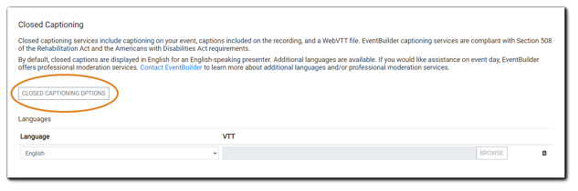 Screenshot: Closed Captioning Order function with 'Closed Captioning Options' button highlighted.