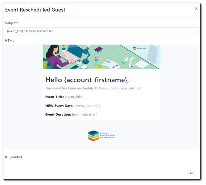 Screenshot: Event Rescheduled Portal Email edit screen.