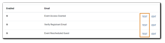 Screenshot: Portal-level email options with 'Test' highlighted.