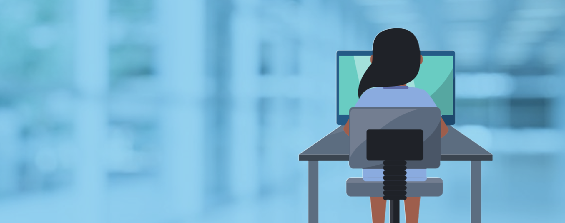 Vector: woman sitting behind computer desk.