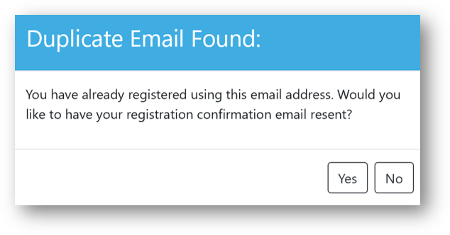 Attendee notice that 'Duplicate Email 'Found