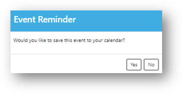 Event Reminder pop-up for attendees to add to their calendar