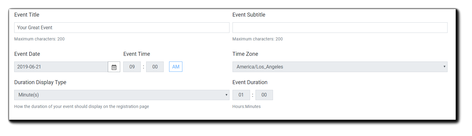 Screenshot: Dialog box for adding event details.