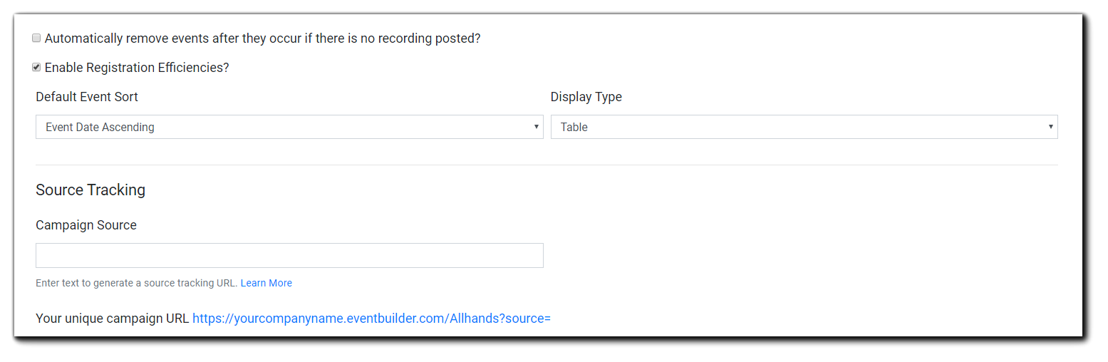 Screenshot: Page customization options, including description, banner image, registration efficiencies, and source tracking.