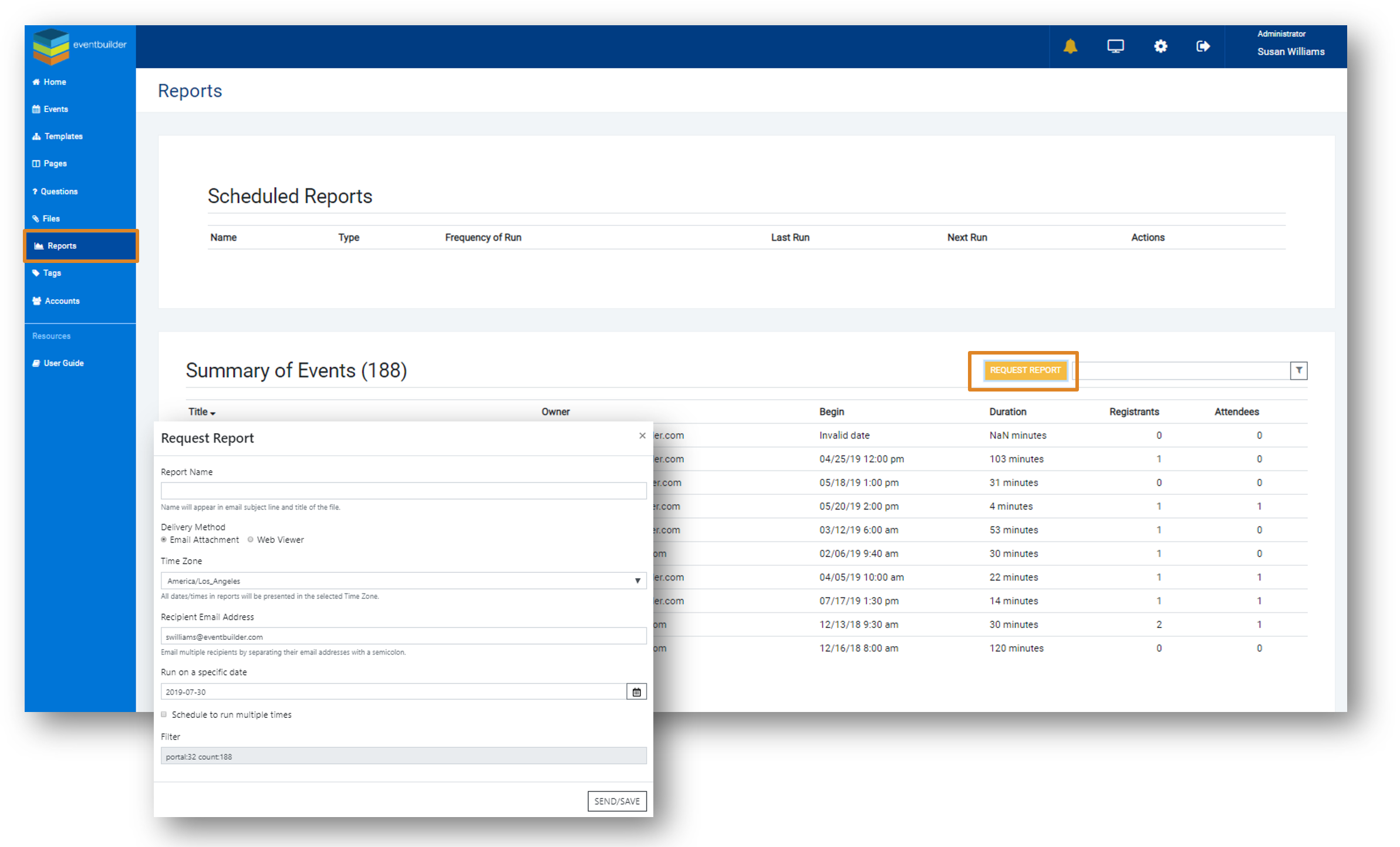 Screenshot: Account Dashboard with Reports option highlighted, the Reports options page, and the Report details window open.
