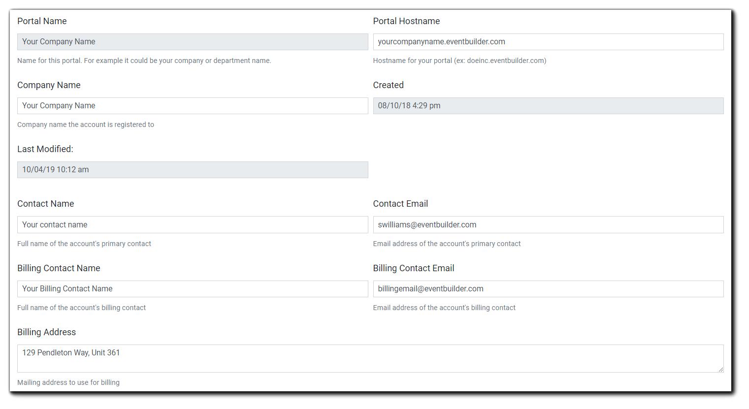 Screenshot: General section of Portal Configuration.