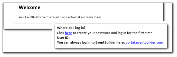 """Screenshot: Welcome email, with """"Where do I log in"""" information included."""