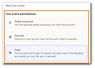 Screenshot: Teams Live Event live permission settings with explanations.