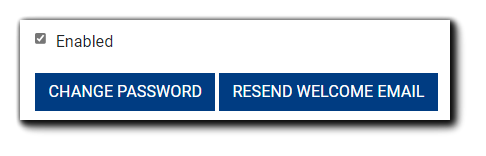 Screenshot: User's 'Enabled' checkbox,' 'Change Password,' and 'Resend Welcome Email' buttons highlighted.