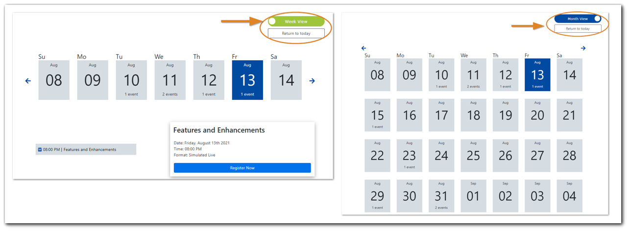Screenshot: Side-by-side of Calendar Display options - Week View or Month View.