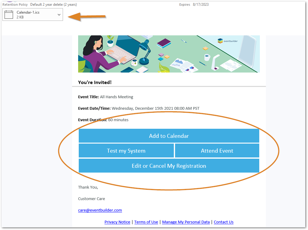 Screenshot: Sample event confirmation email with action buttons highlighted.