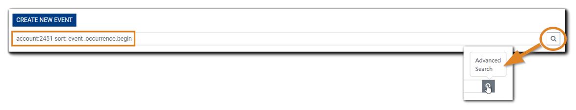 Screenshot: Advanced Search icon.