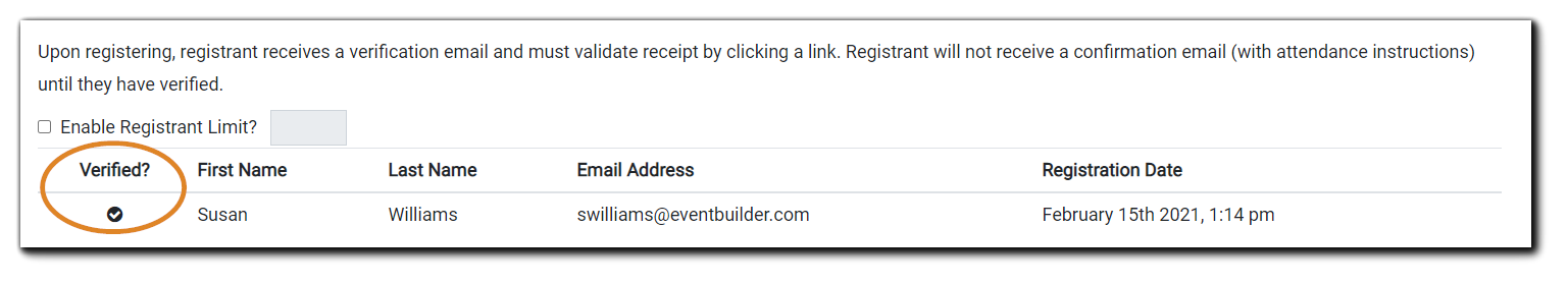 Screenshot: Verified list of Registrants in the 'require registrants to verify via email' security option.