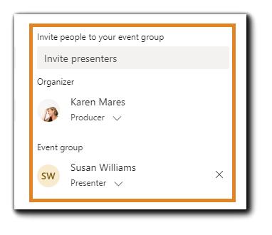 Screenshot: Teams Live Events event group dialog.