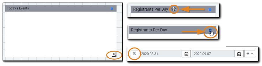 Screenshot: Widget tools: Size, arrange, delete, and save.