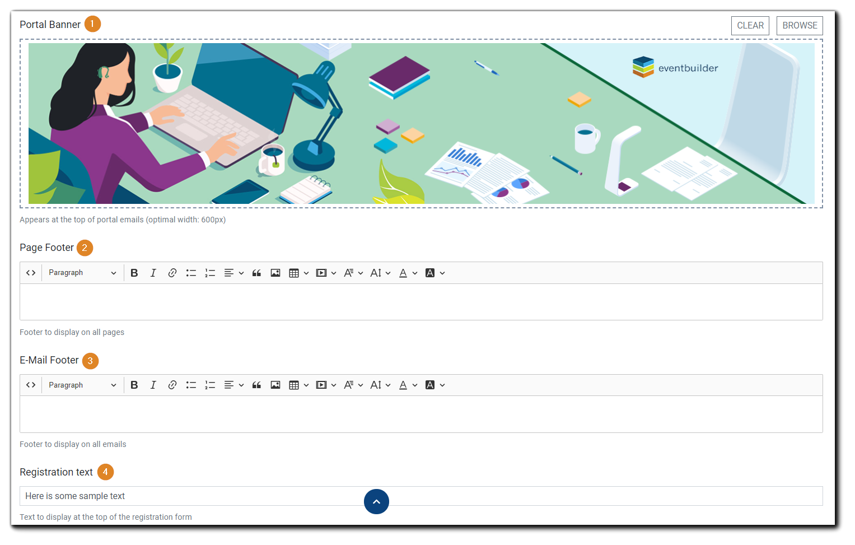 Screenshot: Portal Banner, Disclaimer, Footer, and Registration Text editors.