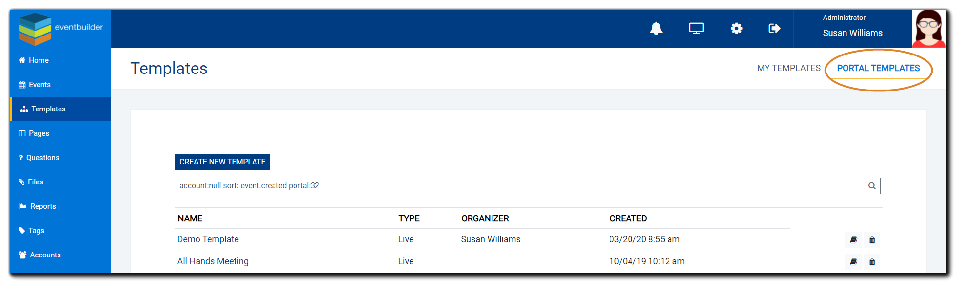 "Screenshot: Portal Templates list, upper right label ""Portal Templates"" highlighted."