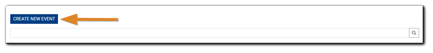 Screenshot: Create New Event and Search field, with the Create New Event button highlighted.