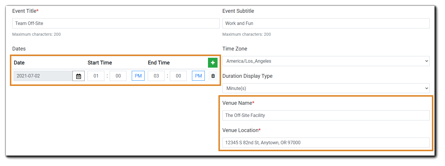Screenshot: In-Person Event details including date(s), duration display (minutes or hours) Venue Name, Venue Location.