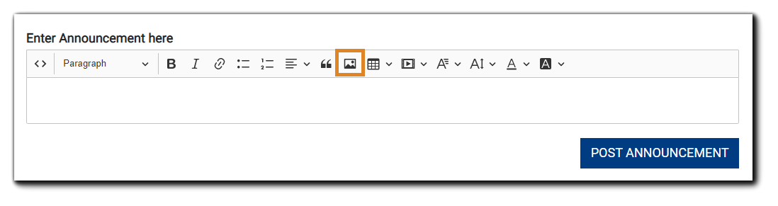 Screenshot: Announcements dialog with image icon highlighted.
