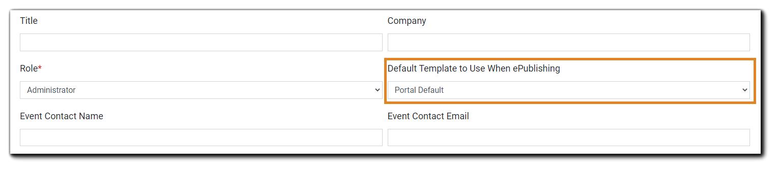 Screenshot: User account settings, default template field highlighted.