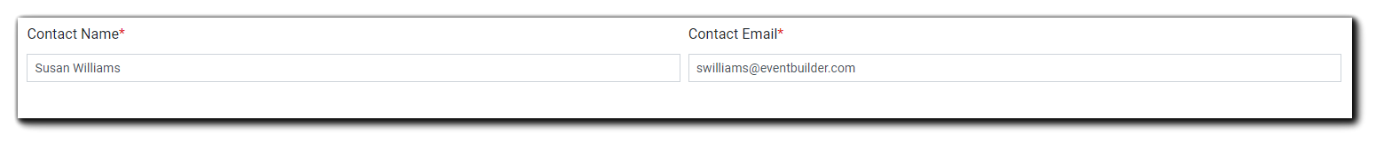 Screenshot: Event Contact Name and Email fields.