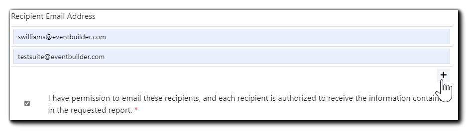 """Screenshot: Recipient email address fields. Transcript: I have permission to email these recipients, and each recipient is authorized to receive the information contained in the requested report."""""""
