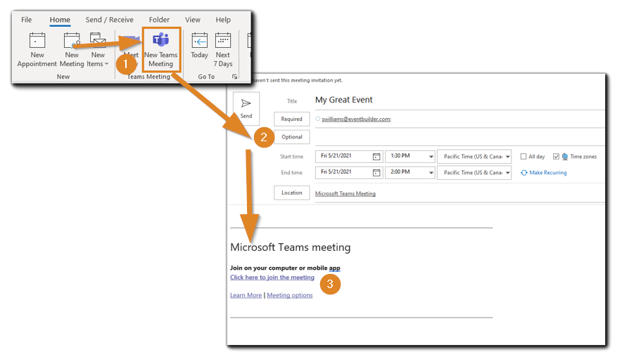 Screenshot: Three steps for creating a Teams meeting and finding the actual link.