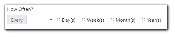 Screenshot: Recurring reports frequency dialog with Day(s) Week(s) Month(s) and Year(s) available as radio buttons.