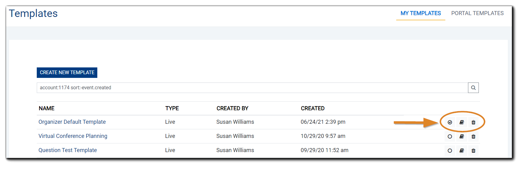Screenshot: My Templates list with the radio button to set the default Template checked and highlighted.