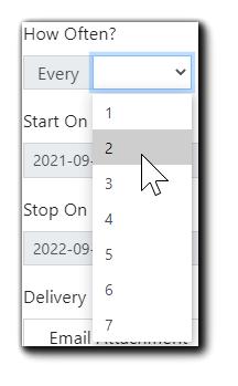 Screenshot: How Often? drop down menu displaying 1 through 7.