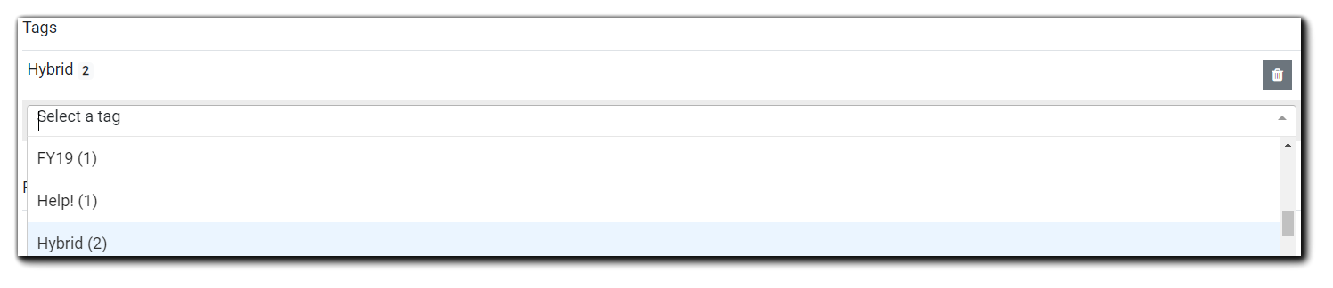 Screenshot: Tags dropdown menu on for the Listing Page.