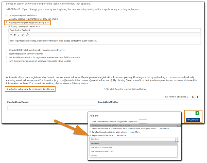 """Screenshot: Security settings with 'Allowlist OR Denylist registrants using a list"""" highlighted, and Security Add-ons shown."""
